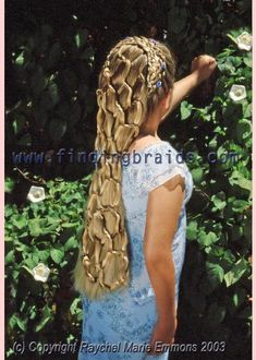 "Five-strand dutch lace braid with ""hair net"" and roses"