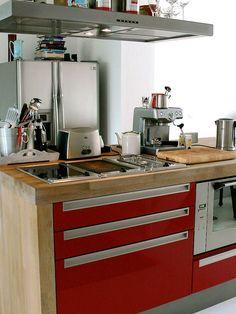 kitchen red cabinet butcher block