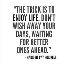 The trick is to enjoy life.  Don't wish away your days, waiting for better ones ahead. - Marjorie Pay Hinckley