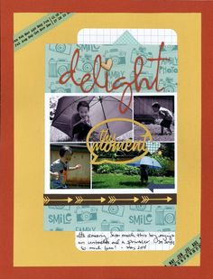 delight - Scrapbook.com - Layer die cuts over a photo collage.