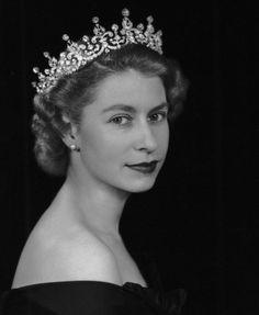 Queen Elizabeth II & Ireland tiara.  Photograph by Dorothy Wilding ~ beautiful photo of her...