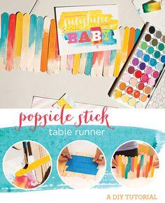 DIY+Tutorial:+Watercolor+Popsicle+Stick+Table+Runner