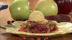 Apple Berry Crisp | In this video, you'll learn how to make this warm, comforting baked fruit dessert by combining an assortment of fresh apples and juicy berries with simple, everyday ingredients. You'll also get step-by-step instructions for making a sweet crumb topping of cinnamon, butter, flour, and oatmeal.