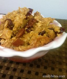 Emily Bites - Weight Watchers Friendly Recipes: Pumpkin, Cranberry, and Apple Baked Oatmeal