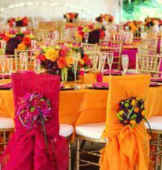 Pink and orange wedding reception