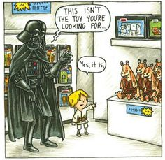 """This series of illustrations is from Jeffrey Brown, and are a part of a book that's available for pre-order on Amazon. """"Darth Vader and Son"""" shows various scenes from a young Skywalker's childhood, and shows Vader trying to be the best single dad he can."""