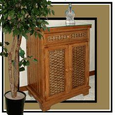 Cottage Wicker Storage Cabinet via @wickerparadise #storage #wicker #brown www.wickerparadise.com