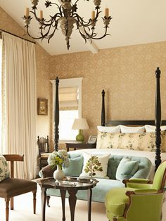 Soft colors in this beautiful, traditional bedroom.