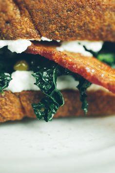 Bacon Kale and Ricotta Sandwich by notwithoutsalt #Sandwich #Bacon #Kale #Ricotta