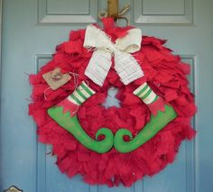 Burlap Christmas Wreath with Elf Shoes WHITE BOW  by RedRobynLane, $67.00