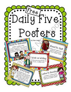Daily Five Posters from Seejaneteachmultiage on TeachersNotebook.com (6 pages)  - Free Daily Five Posters