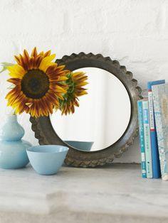 old pie tin + mirror