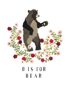 B is for Bear Archival Art print by Rebekkaseale on Etsy, $17.00