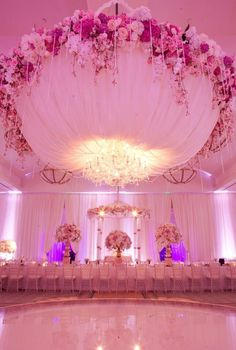 Beautiful wedding décor/ fabulous ceiling treatments / draping / floral/  ♥ dream big, wedding receptions, wedding lighting, reception ideas, pink weddings, ceiling decor, dream wedding, bride, pink parties
