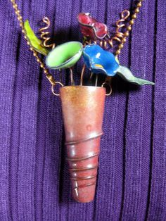 Torch Fired Enamel Copper, Vase of Flowers Necklace