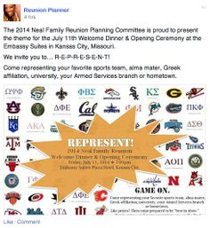 Neal Family Reunion invitation 2014. Represent! is the theme, and family members are invited to wear the colors of their favorite team, the name of their Armed Services branch, or the logo of their alma mater.