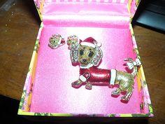 Betsey Johnson Santa Dachshund and Earring and Pin Brooch set Christmas NIB