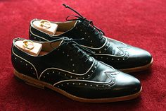 Black Half Brogue  Handmade Leather Men Shoes by Kwnstantinos, $425.00