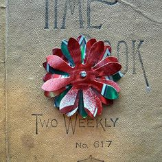 Upcycled Cherry 7 Up Aluminum Can Flower as a Brooch/Pin, Barrette, Hairpin, or Magnet