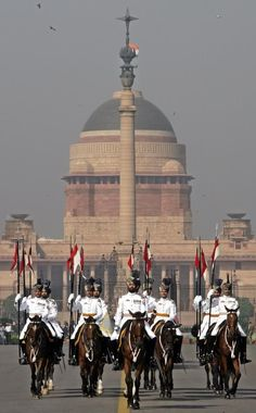 The President's Bodyguards during the Changing of the Guard ceremony in front of the presidential palace in New Delhi