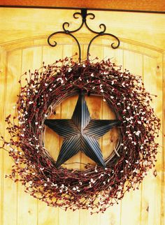 Cranberry & Vanilla BARN STAR Wreath-LARGE-Americana Wreath-Rustic Primitive Country Decor-Scented Cran-Orange-or Choose your Scent. $79.00, via Etsy.