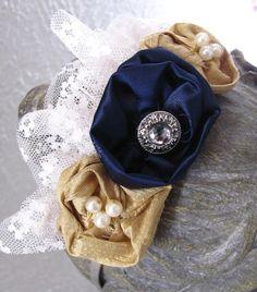 Navy Blue and Gold Flower Headband. Lace Ruffle Headband. Navy Satin, Gold Silk, Pearl, Rhinestones. 24.50, via Etsy.