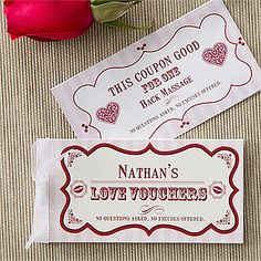 "These designs are so cute! They're create-your-own ""vouchers of love"" or romantic coupons! You can have them personalized to say anything you want - super affordable and sweet Valentine's Day Gift idea! #GiftsFromTheHeart"