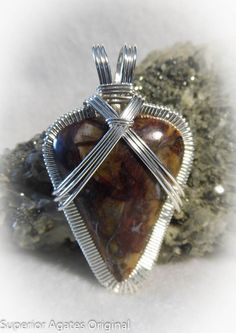 Rare Binghamite Man's Wire Wrapped Stone Pendant by superioragates, $55.00