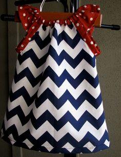 Dress - chevron zigzag navy red white blue girl baby toddler