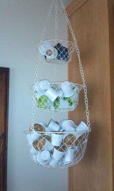 My K-Cup storage. Hanging fruit basket, put to better use.
