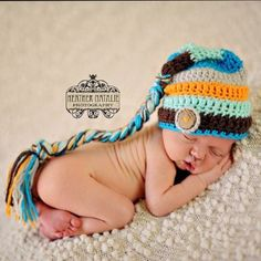 Striped Elf Hat, Baby Boy Hat, Newborn Photo Prop, Aqua, Taupe, Brown, Coconut Button, Organic Baby, Crochet