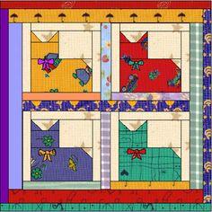 squar, fun cat, quilt patterns, cat quilt, easi cat, cat naps, calico cats, cat lovers, nap quilt