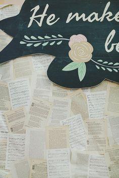 book page backdrop, photo by Jonathan Ong http://ruffledblog.com/handcrafted-singapore-wedding #weddingideas #backdrops #diy