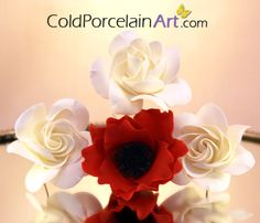 Cold Porcelain Art flowers. Handcrafted White Gardenias and Red Poppy. www.coldporcelain... #coldporcelain , #gardenias, #coldporcelainflowers, #red poppy