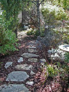 Flagstone & mulch path to the back of my yard.