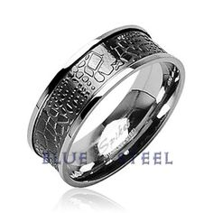 PIN IT TO WIN IT! Curve Croc: This Stainless Steel Ring with Croc Skin Design Inlay gives a natural style for its creative design blended with nature, with gloss finish and a clear groove around the edge, it still keeps up with your style.  $29.99  www.buybluesteel.com