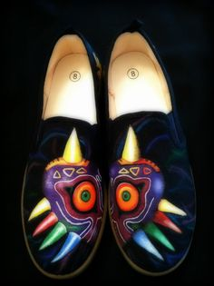 Legend of Zelda Majora's Mask shoes hand painted one by timber123, $100.00