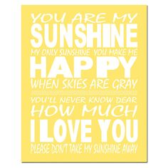 You Are My Sunshine My Only Sunshine  11 x 14 Print in by Tessyla, $25.00
