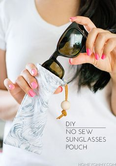 DIY: no sew sunglass pouch