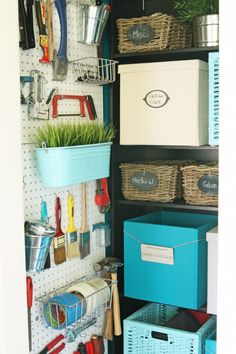 Prettiest storage I ever did see! Office Closet Makeover via Not JUST A Housewife