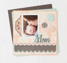 Family Album Cricut image set -- Mom scrapbook page layout. Make It Now in Cricut Design Space