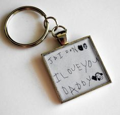 Your Child's Artwork on a keychain.  Love this idea for dad!  #gifts