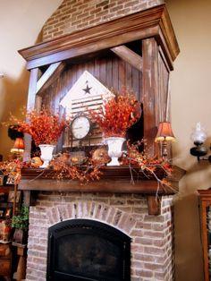 fireplac mantl, fall fireplac, fireplace mantles, fall mantl, mantel idea, fall decorating, holiday idea, fall idea, fireplac mantel