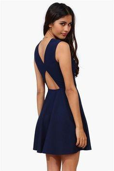 Open Back Blue Dress.