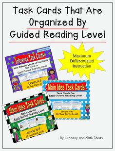 Task Cards That Are Organized By Guided Reading Level - Guided Reading Made Easier!