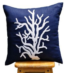 White Coral Reef Throw Pillow Cover 18 x 18 Decorative by KainKain, $22.00