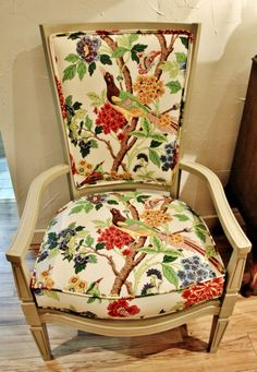 French Linen Chalk Paint® decorative paint by Annie Sloan on a reupholstered chair   By Ontario, Canada stockist The Melon Patch