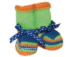 Cómo tejer zapatitos en varios colores de lana para bebes recién nacidos en dos agujas o palitos!