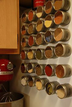 utilizing space: magnetic spice racks  credit to superradrudeboy on r/cooking