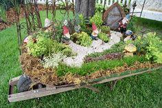 Gnome garden in a wheelbarrow